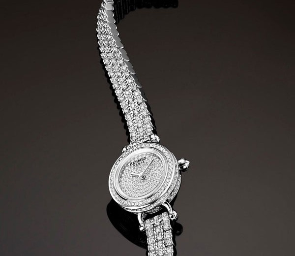 White Gold Case Replica Hermes Faubourg Joaillerie Diamond Watches