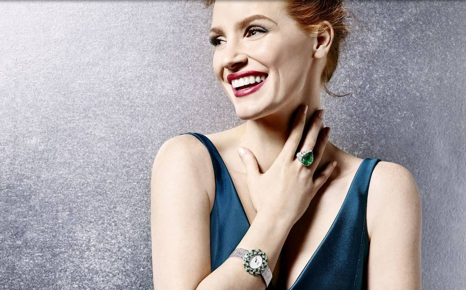 Jessica Chastain and copy white dial Piaget Sunny Side of Life