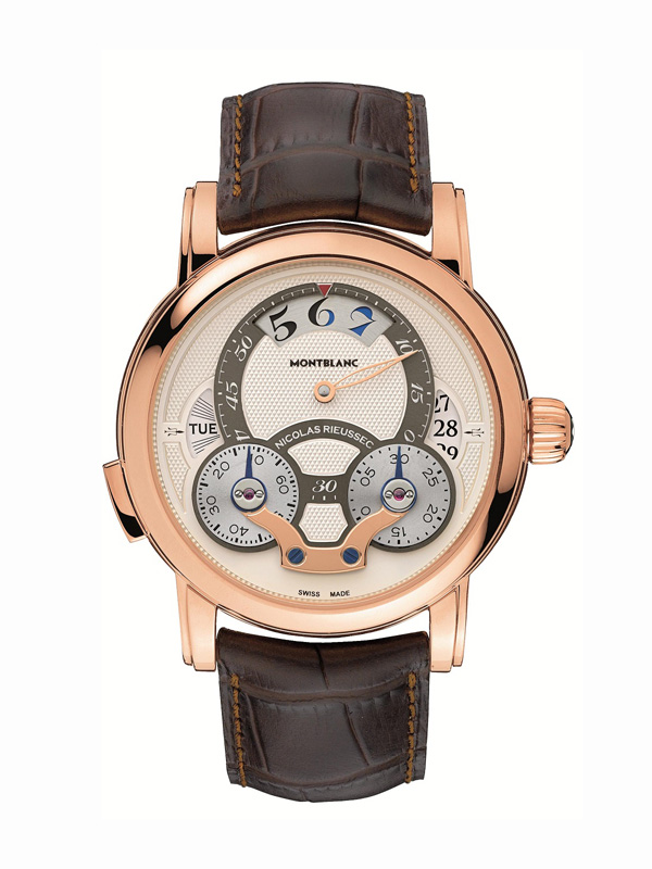 brown leather strap copy Montblanc Nicolas Rieussec Rising Hours