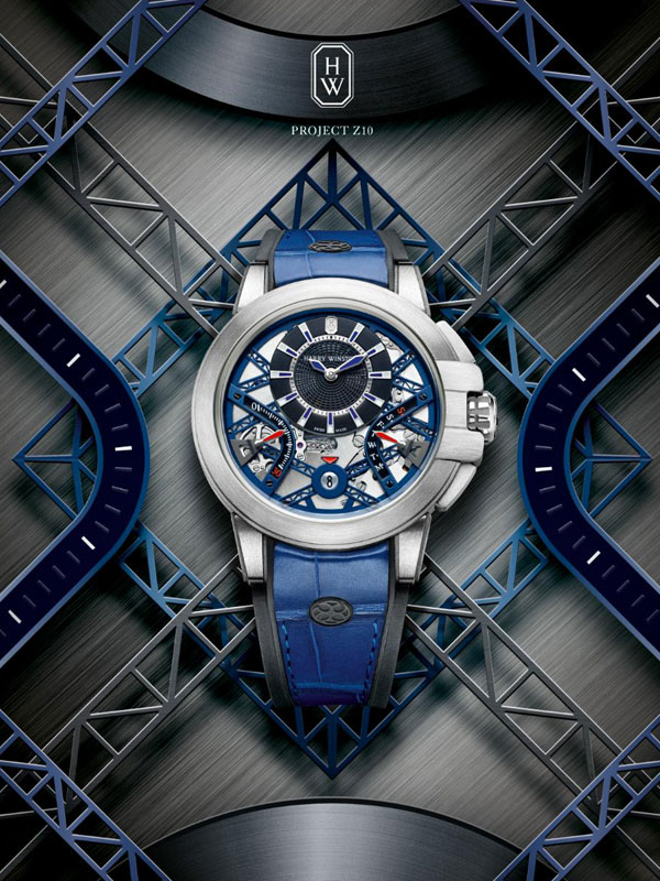 Blue Leather Strap Replica Harry Winston Project Z10 Watches
