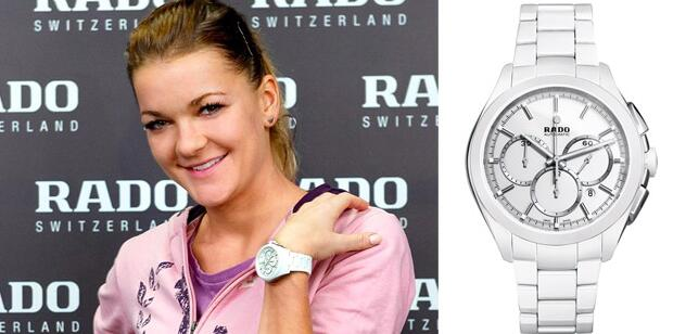 High-end White Ceramic Bracelets Replica Rado HyperChrome Chronograph Automatic Watches Accompany Agnieszka Radwanska