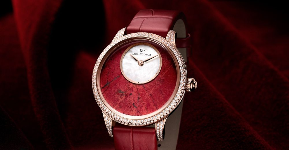 Red Leather Straps Jaquet Droz Petite Heure Minute Replica Watches For Ladies