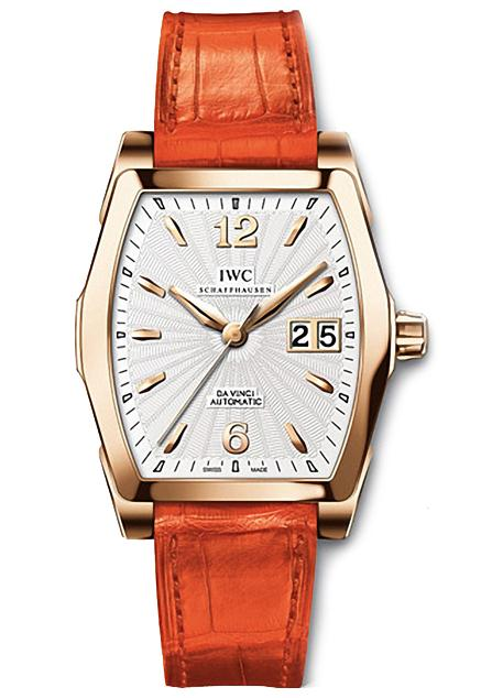 The silvery dials copy watches have orange leather straps.