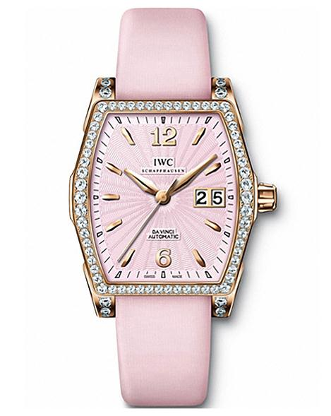 The pink dials fake watches have pink leather straps.