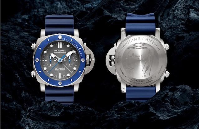 The titanium fake watches have blue rubber straps.