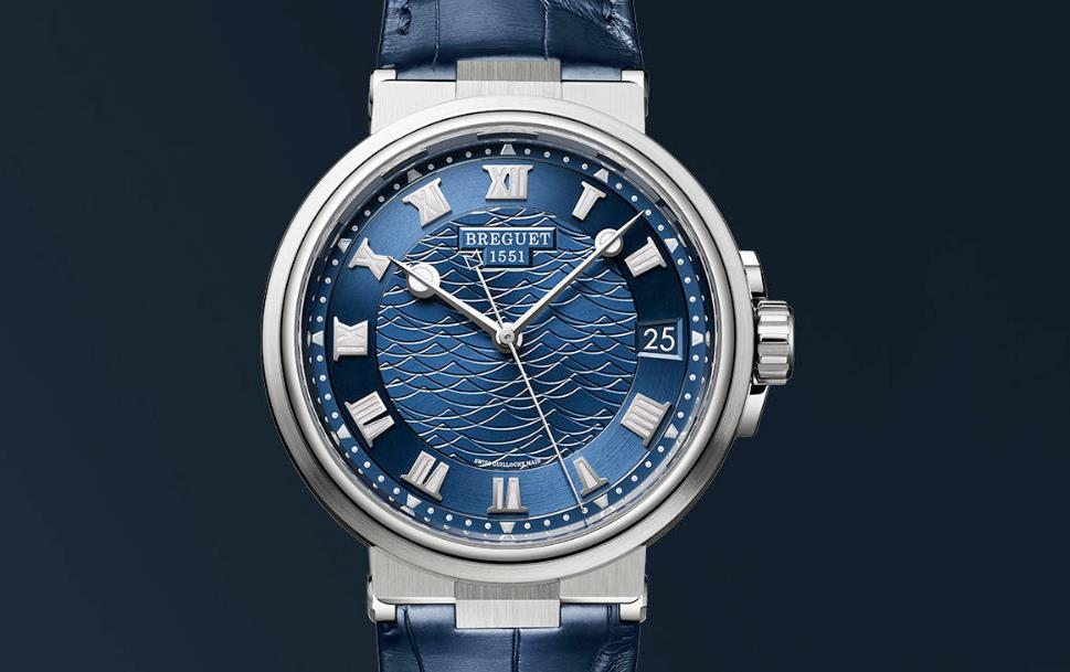The 18k white gold fake watches have blue dials.