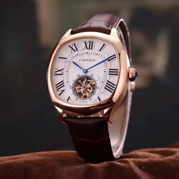The 18k rose gold fake watches have brown leather straps.